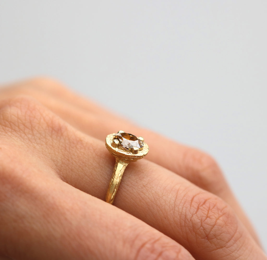 18ct Fairtrade Yellow Gold Ring Set with Oval Champagne Diamond in Raised Claw
