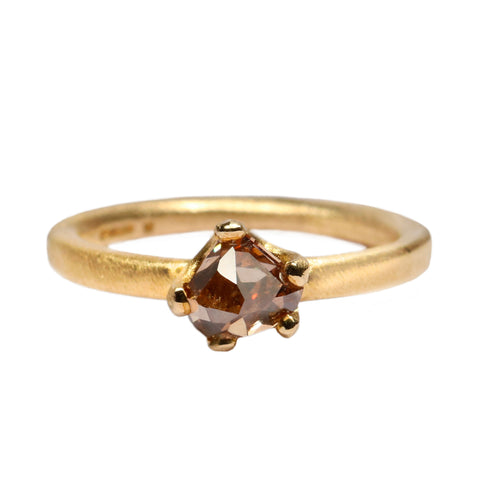 SOLD - 9ct Yellow Gold 'One-Off' Ring with 0.79ct Brown Rose Cut Diamond