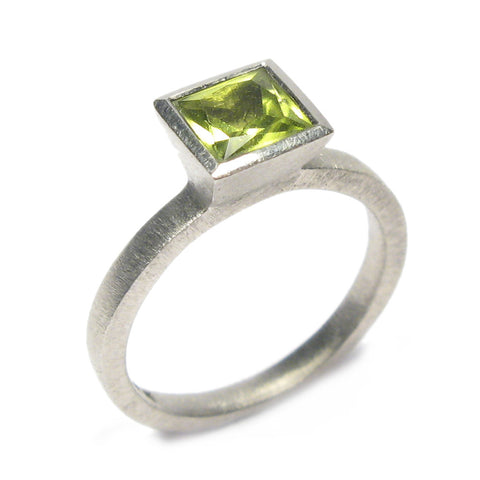 Princess Cut Peridot and 9ct white gold Ring