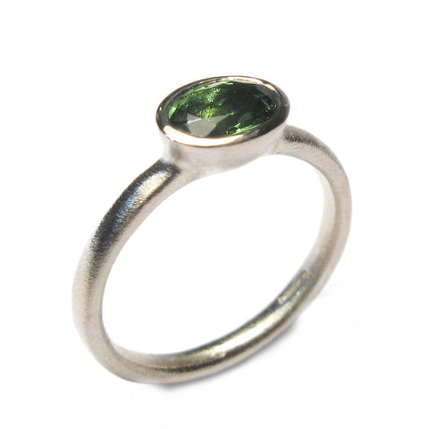 Oval Dark Green Tourmaline and 18ct White Gold Ring