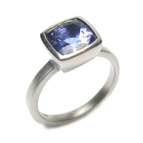 Cushion Cut Tanzanite and Platinum Ring