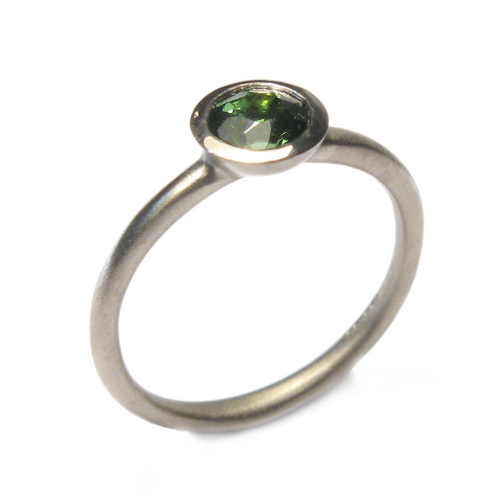 Diana Porter white gold green tourmaline engagement ring