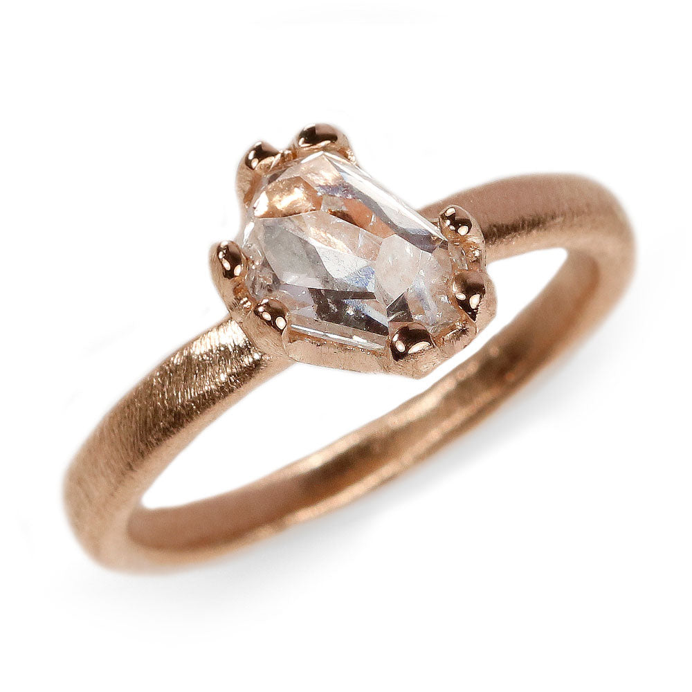 18ct Fairtrade Rose Gold Ring Set with a Freeform Diamond in Irregular Claws