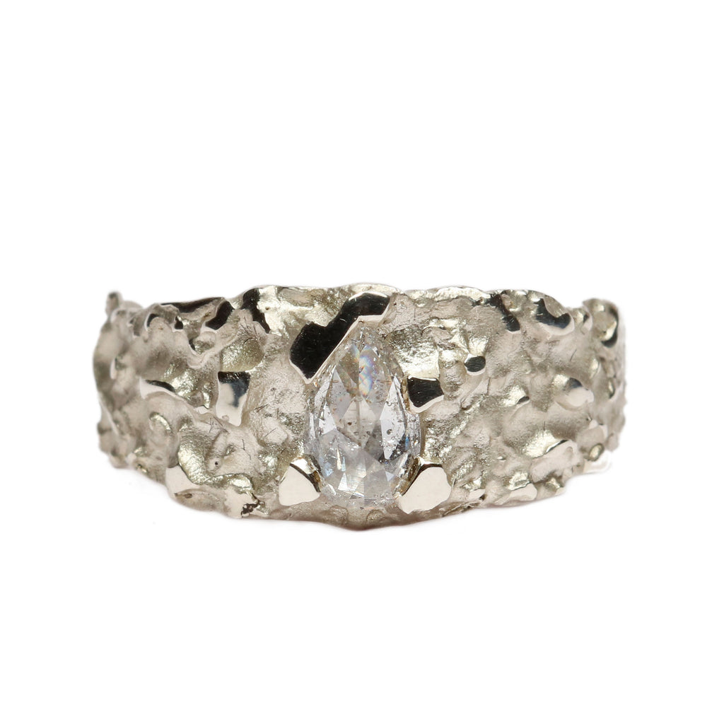 SOLD 9ct White Gold 'One-Of-Kind' Ring with 0.50ct Pear Shaped, Rose Cut Diamond