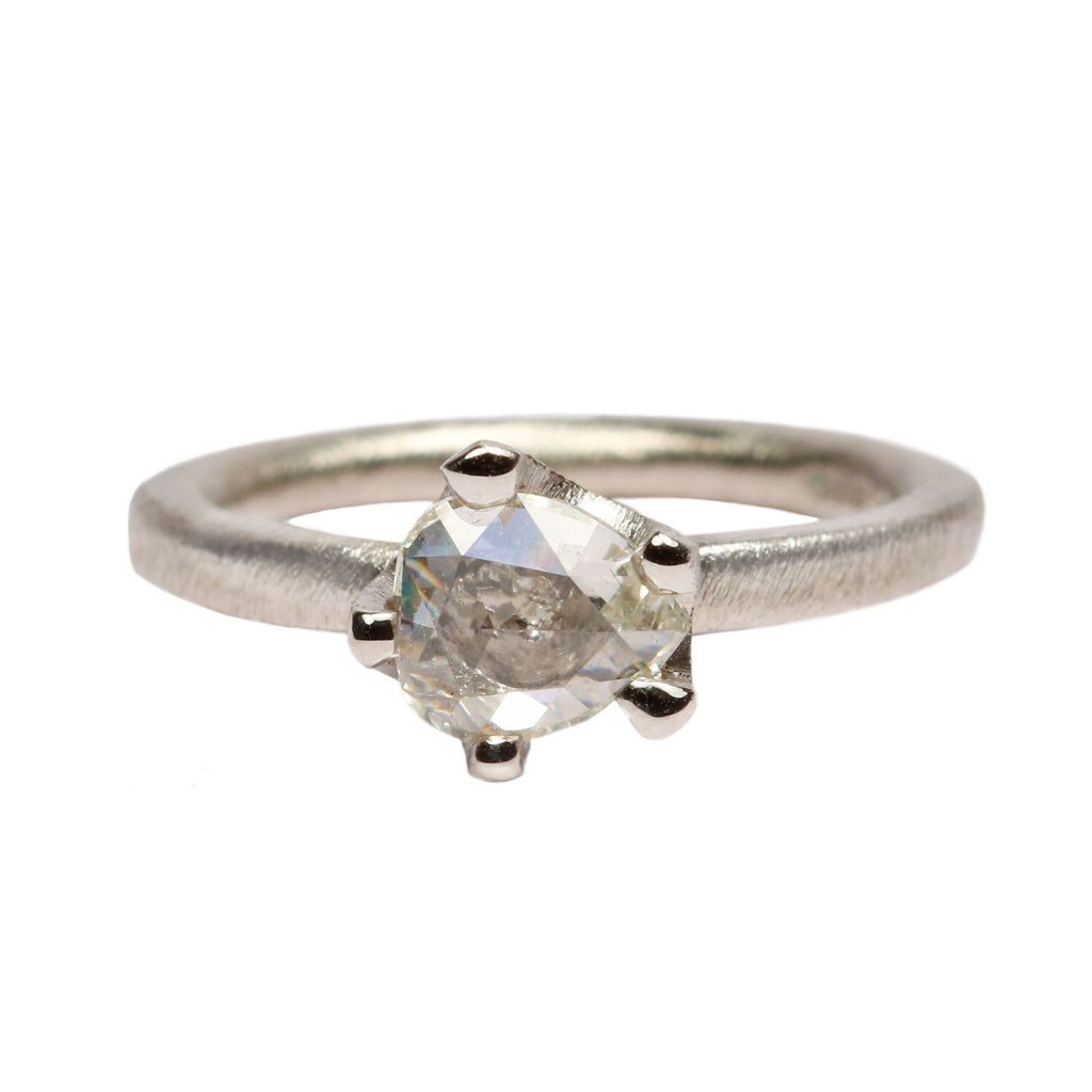SOLD Platinum 'One-Of-Kind' Ring with 1ct Free-Form, Rose Cut Diamond