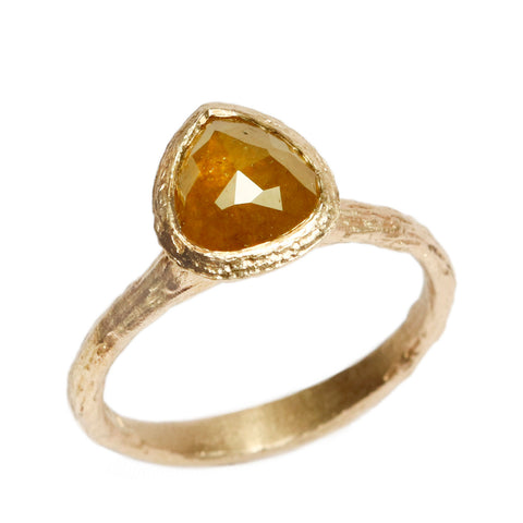 SOLD - 9ct Yellow Gold 'One-Of-Kind' Ring with 1.69ct Rose Cut, Ochre Pear Diamond