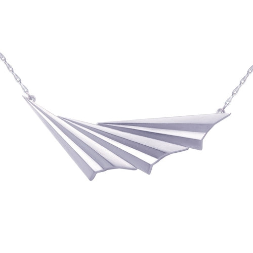 Alice Barnes Pleated Wave Necklace Silver