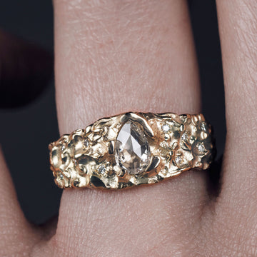 9ct Yellow Gold 'One-Of-Kind' Ring with 0.46ct Pear, Rose Cut Diamond