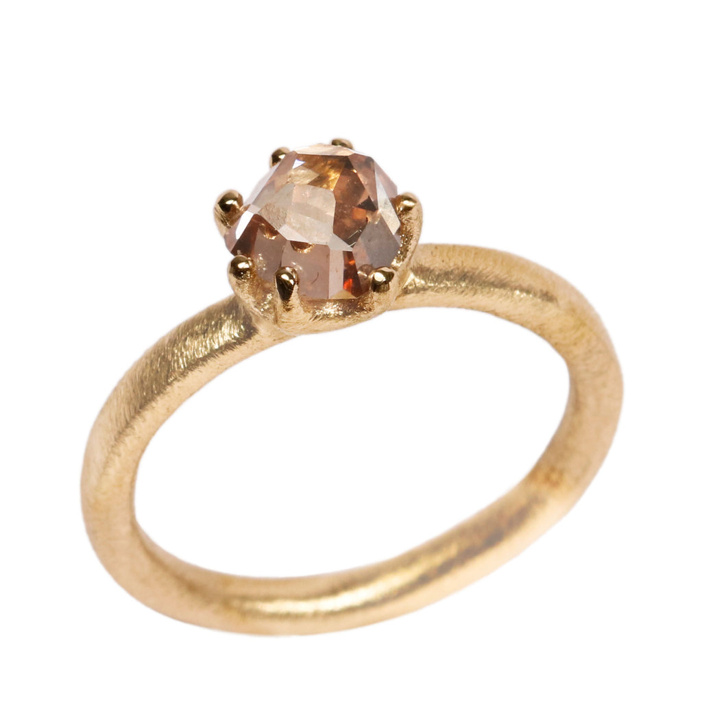 SOLD - 18ct Yellow Gold 'One-Off' Ring with 1.23ct Light Brown Rose Cut Diamond