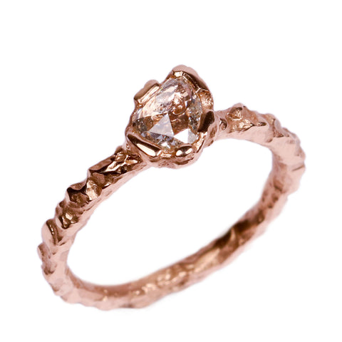 SOLD - 18ct Rose Gold 'One-Of-Kind' Ring with 0.42ct Pear Shaped, Rose Cut Diamond
