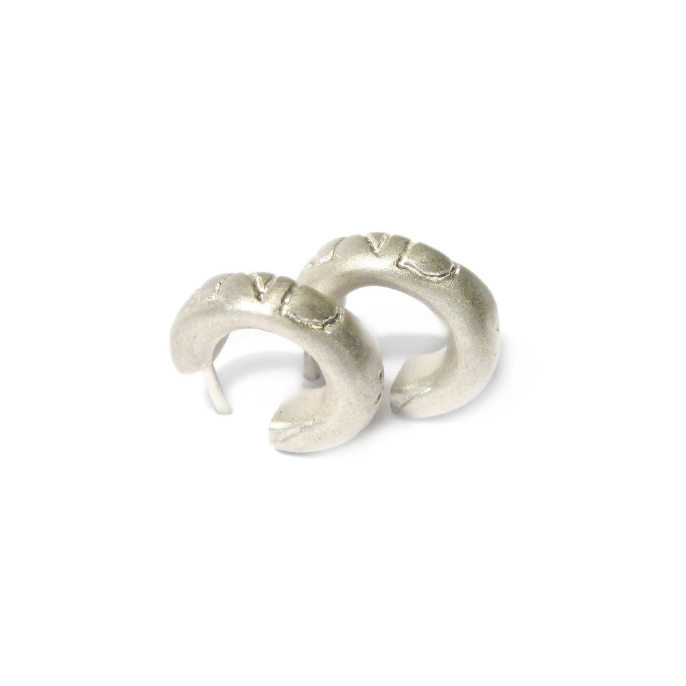 Diana Porter etched on and on silver hoop earrings