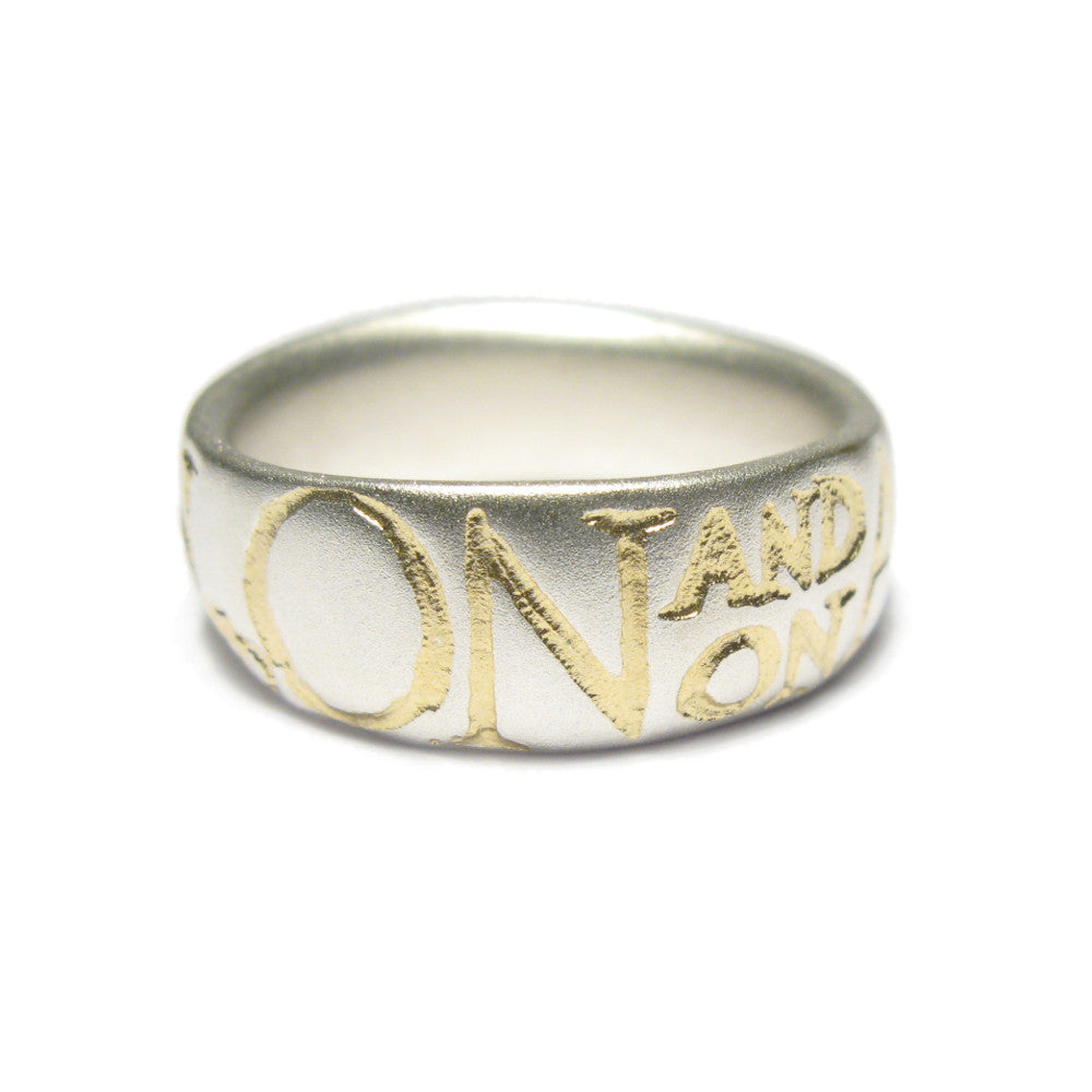 Diana Porter etched on and on silver gold ring