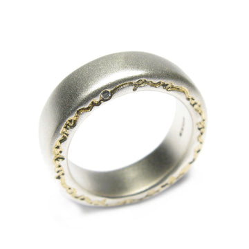 Diana Porter etched edge on and on silver diamond ring