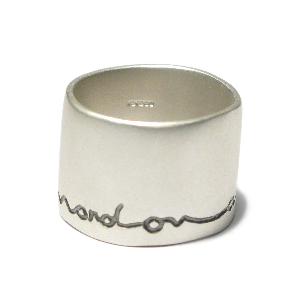 Diana Porter wide etched on and on silver ring