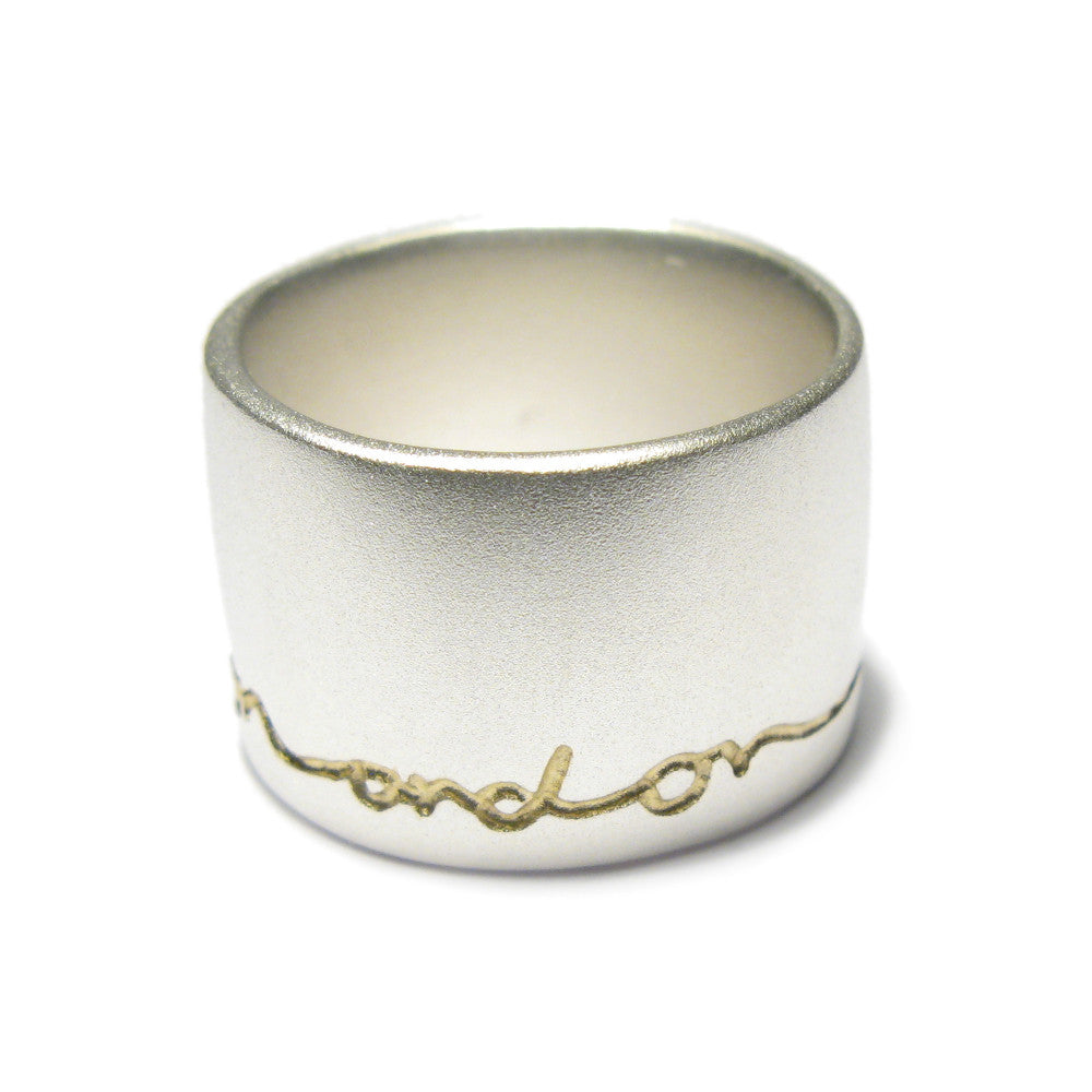 Diana Porter wide etched on and on silver gold ring