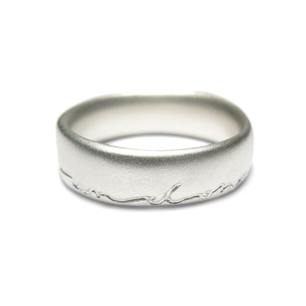 Diana Porter men's etched on and on silver ring