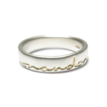 Diana Porter silver etched on and on gold ring