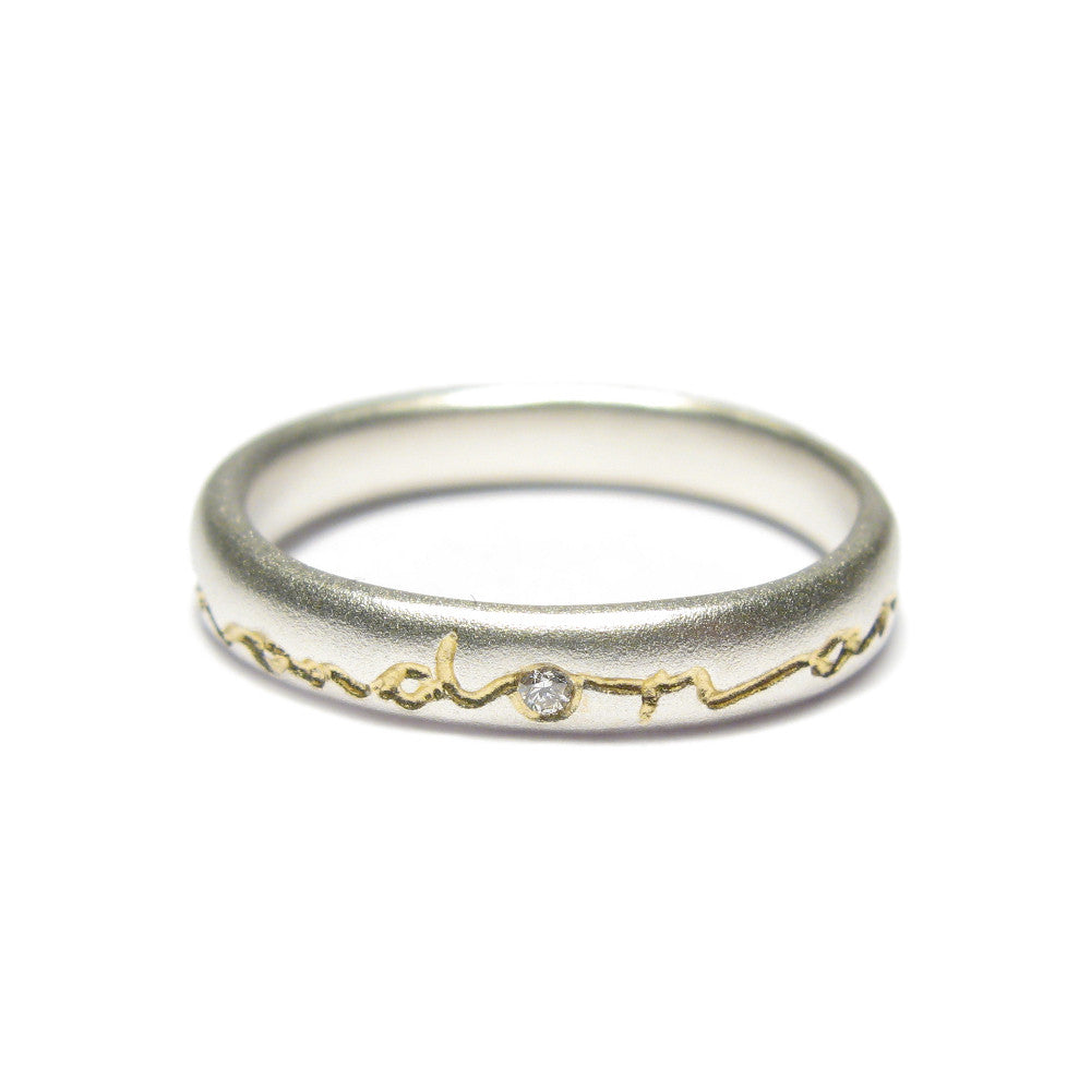 Diana Porter etched on and on silver gold ring with diamond