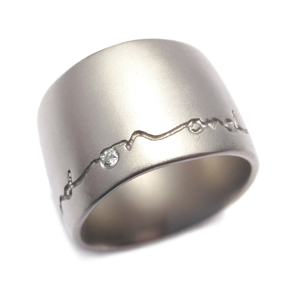 Diana Porter Contemporary Jewellery Bespoke 18ct white gold ring with etching and Diamond