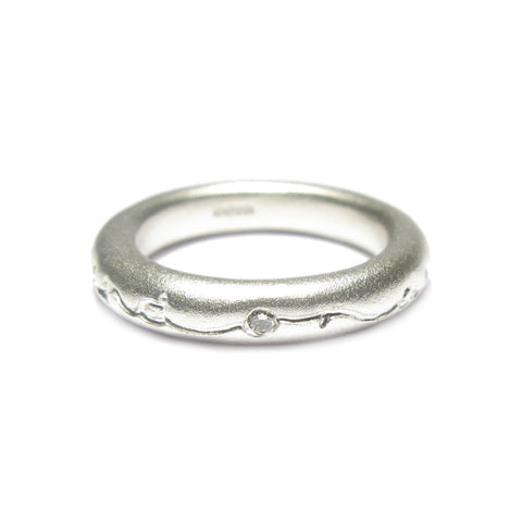 Round Silver 'ON AND ON' Ring