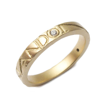 Diana Porter yellow gold etched on and on diamond wedding ring