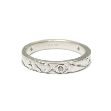 Diana Porter silver etched on and on diamond ring
