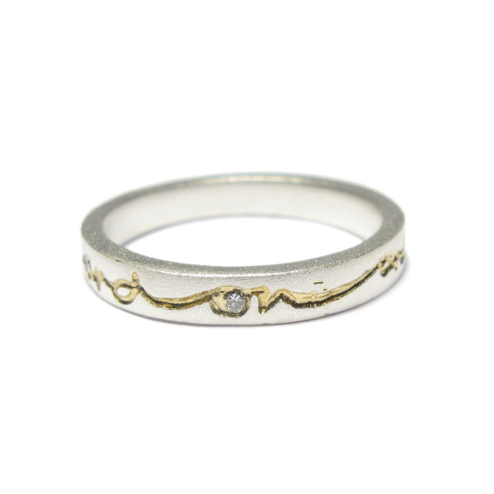 Diana Porter silver etched on and on gold diamond ring