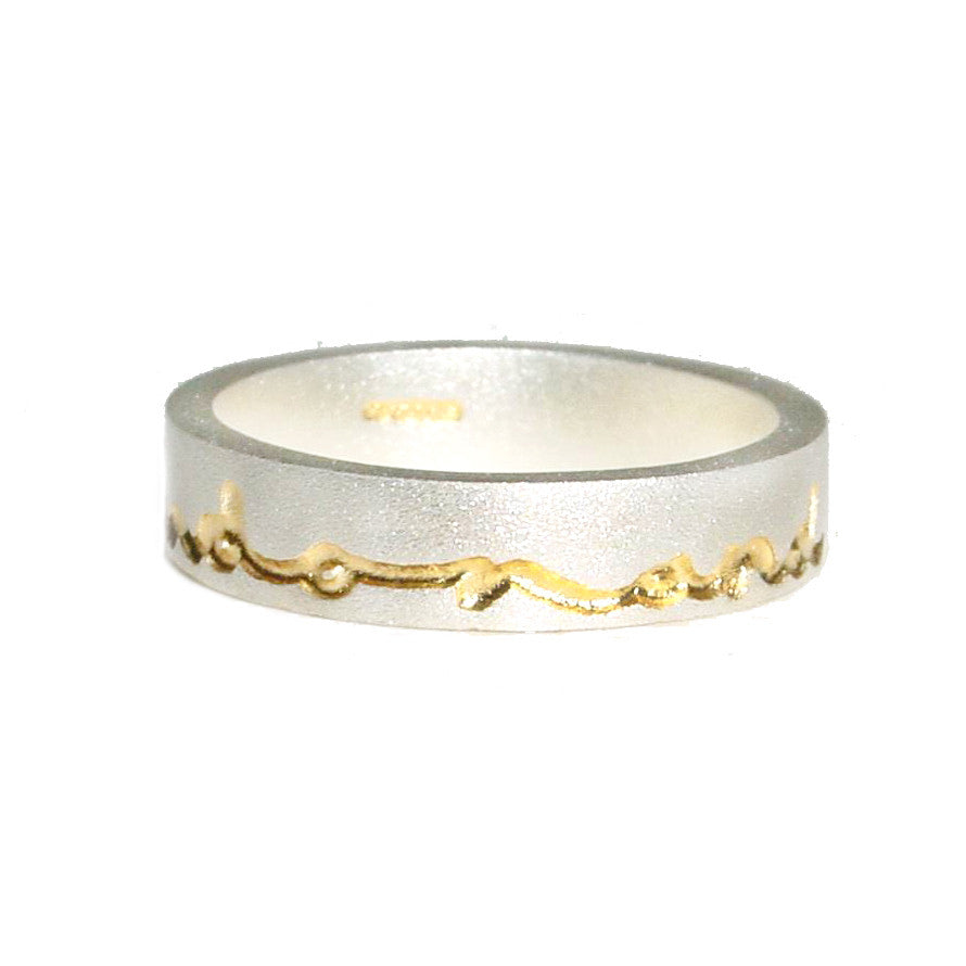 Diana Porter etched silver gold on and on ring