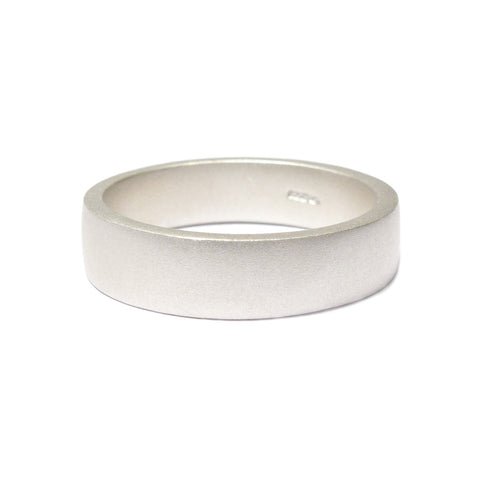 Plain Wide Silver Square Ring