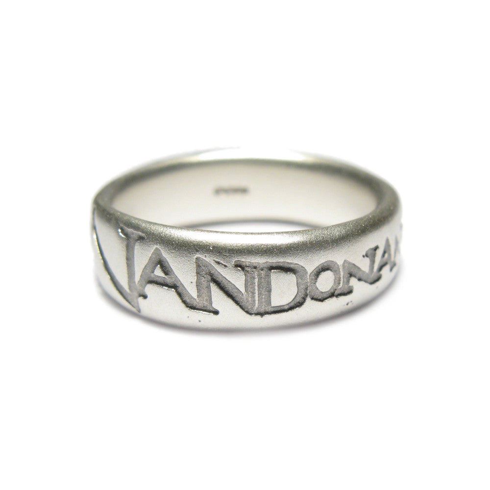 Diana Porter etched on and on mens silver ring