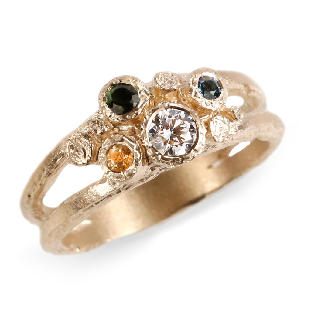 9ct Yellow Gold Cluster Ring with Green Tourmaline, Diamond, Citrine and Topaz