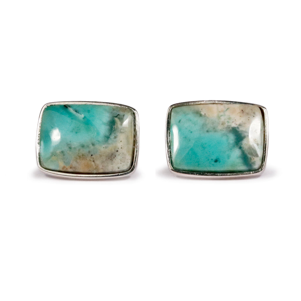 Alan K Thau silver and opalized Wood cufflinks