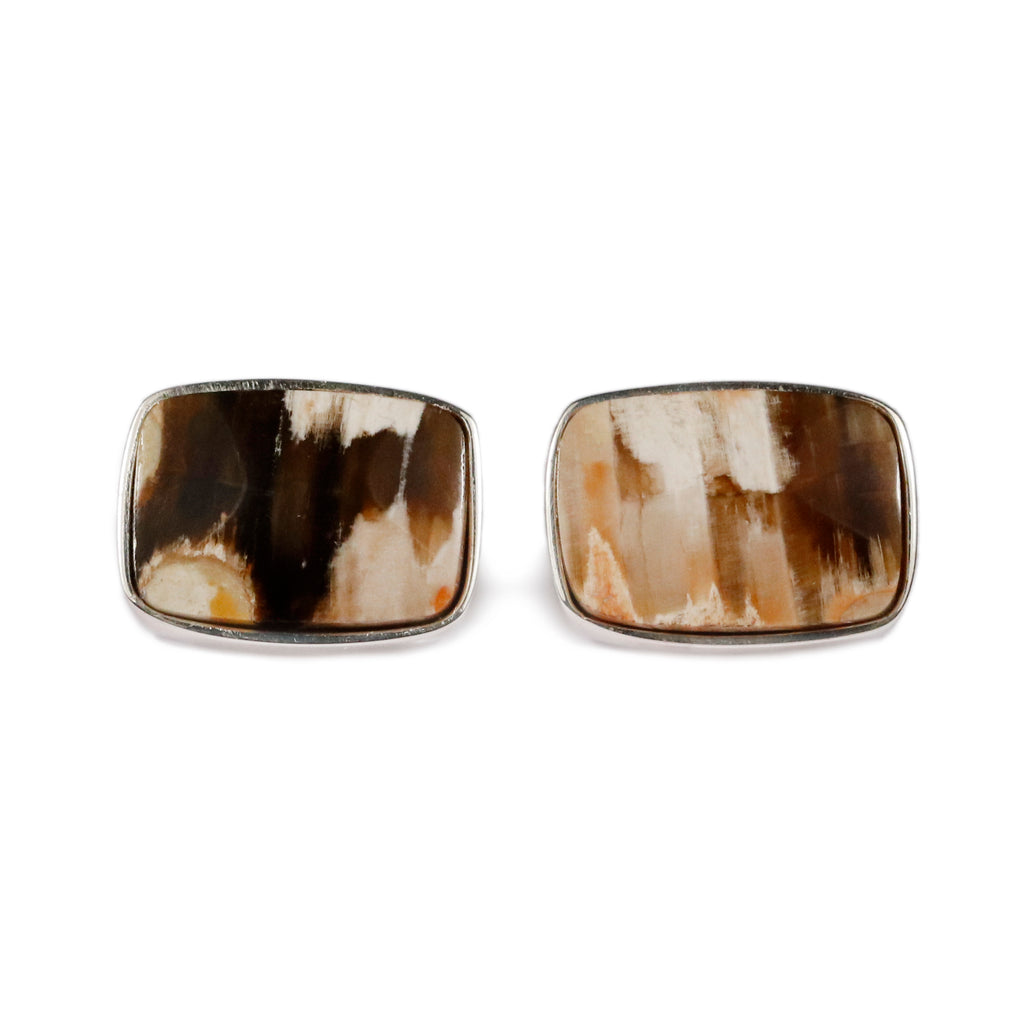 Alan K Thau Petrified Wood cufflinks