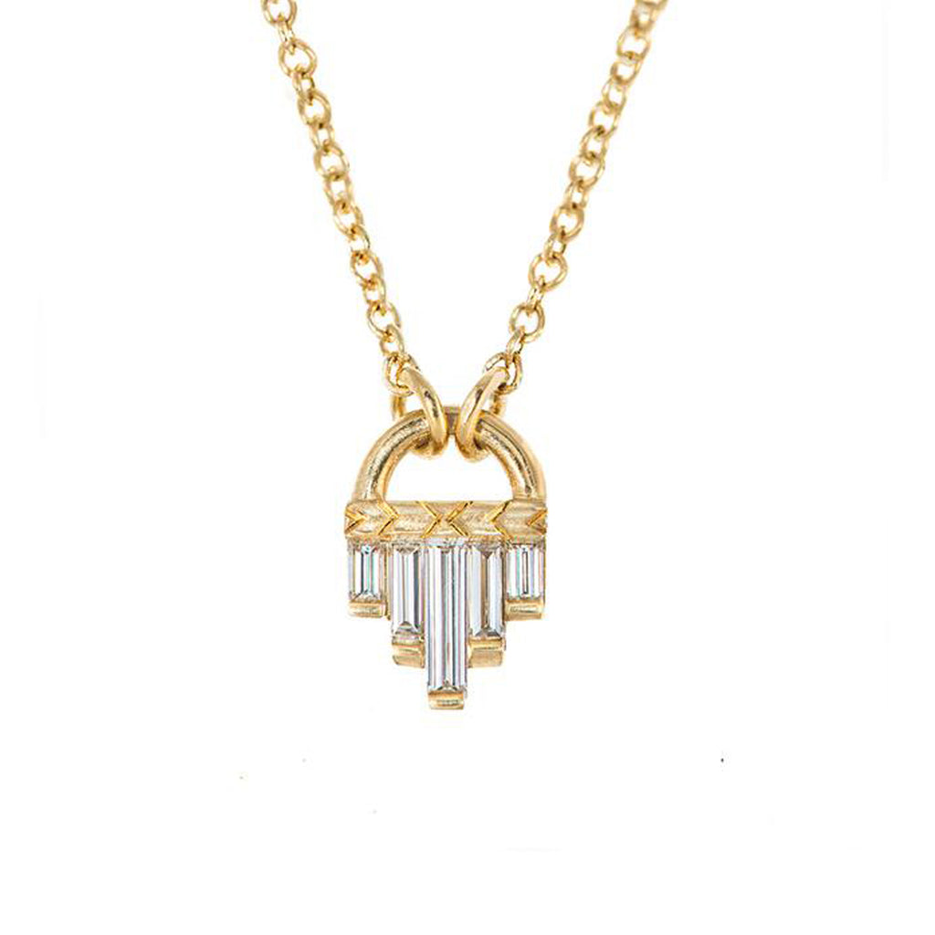 Artemer Art Deco Diamond Necklace with Baguette Cut Diamonds