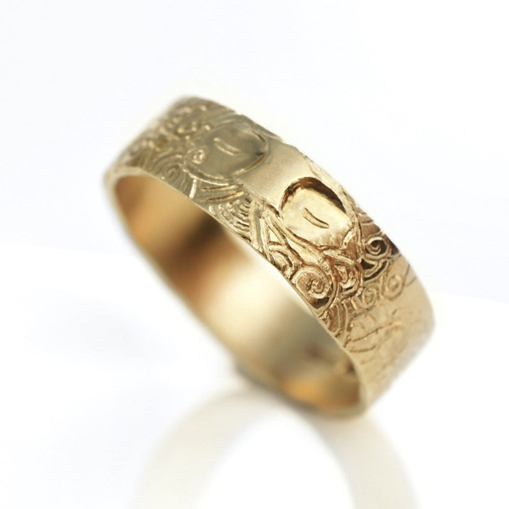 Cameron & Breen Gold Carved Face Ring