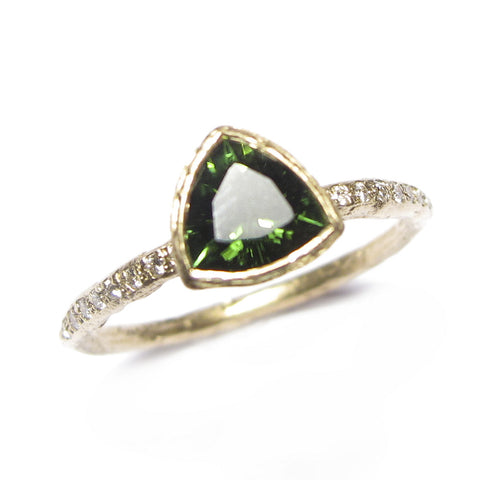 Trillion Cut Green Tourmaline and 9ct Yellow Gold Ring with Grain Set Diamonds