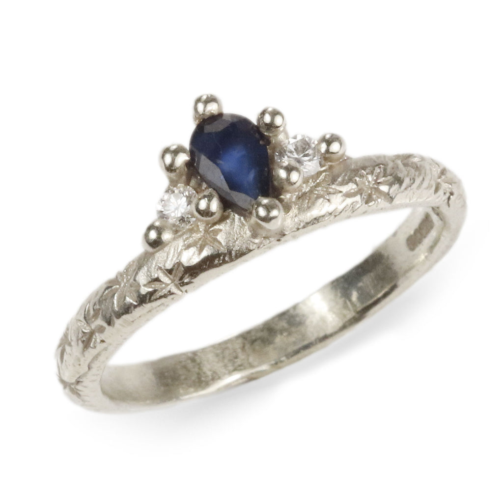 Ciara Bowles White Gold Sapphire Crown Ring