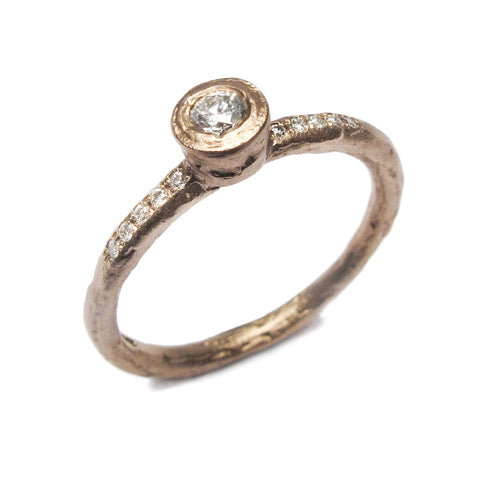 9ct Rose Gold Ring with 0.10ct Diamond and Grain Set Diamonds