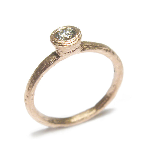 9ct Rose Gold Ring with 0.10ct Brilliant Cut Diamond
