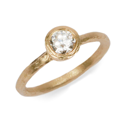 18ct Fairtrade Yellow Gold Ring Set with Diamond in Raised Bezel Setting