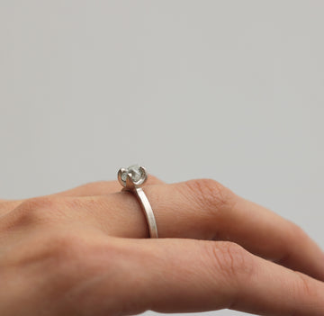 18ct Fairtrade White Gold Ring Set with Rough Diamond in Irregular Claw