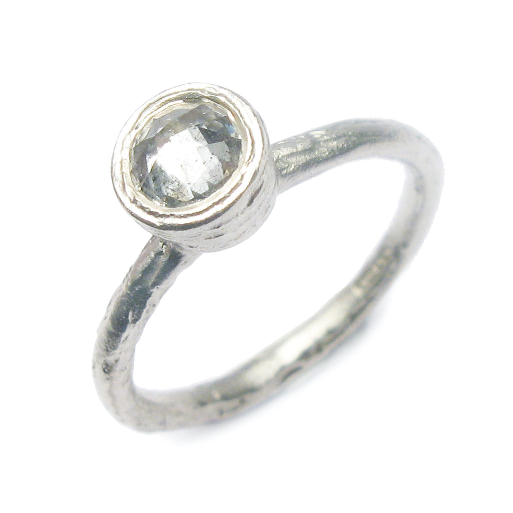 Diana Porter Contemporary Jewellery modern diamond and white gold engagement ring, solitaire grey rose cut diamond