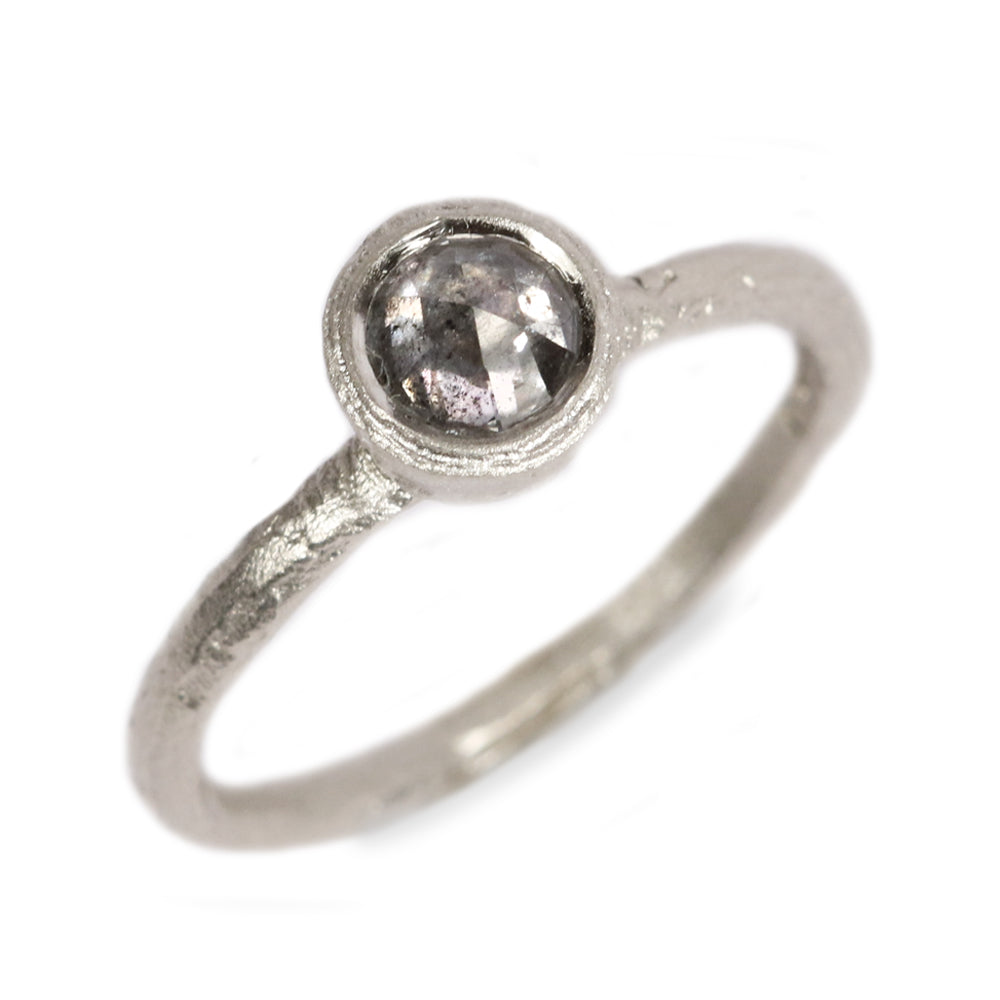 9ct White Fairtrade gold  set with a Grey Rose Cut Diamond