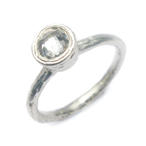 9ct White Gold Ring with Grey Rose Cut Diamond