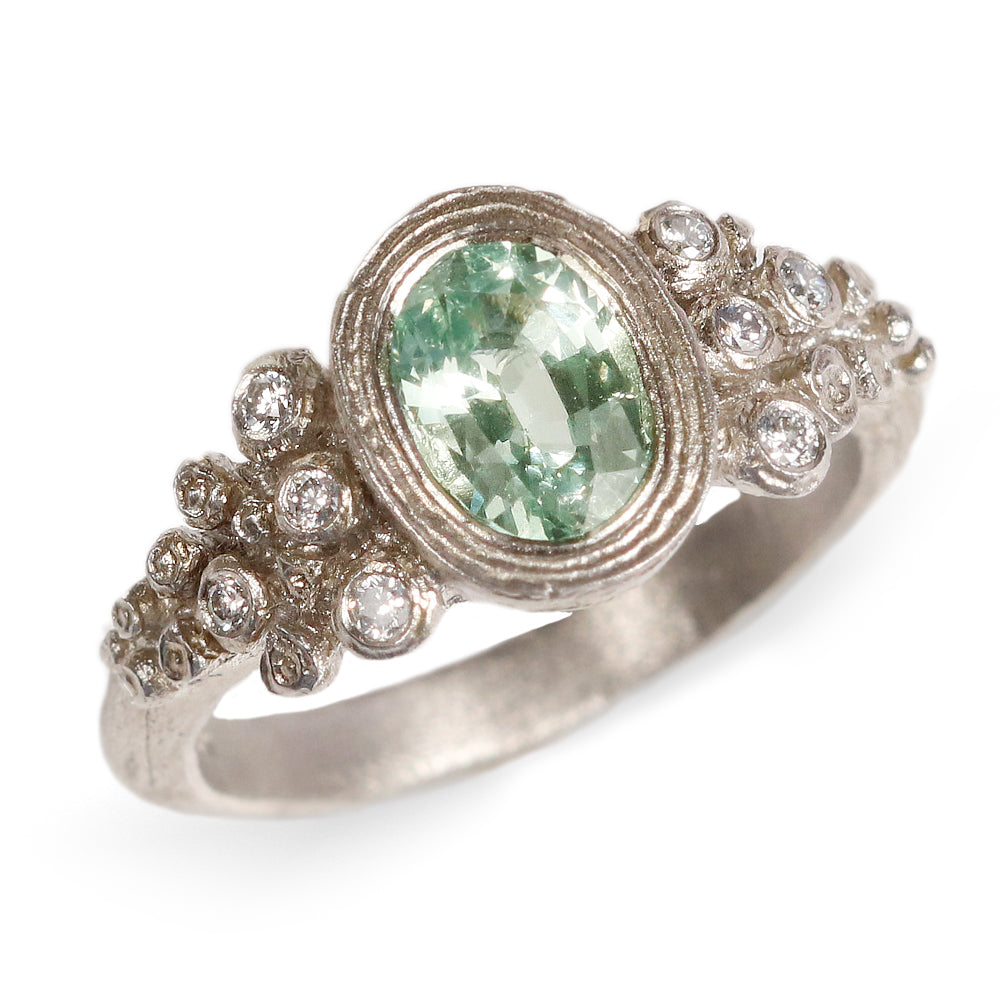 Platinum Etched Ring with Green Garnet and Grey Diamonds