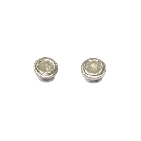 9ct White Gold Ear Studs with Cloudy Rose Cut Diamonds