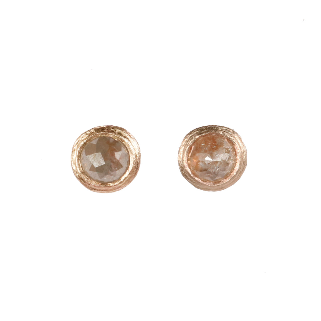 9ct Yellow Gold Ear Studs with Peachy Grey Rose Cut Diamonds