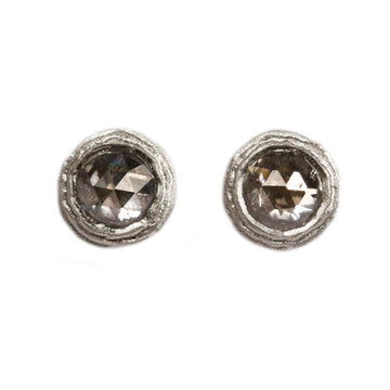 9ct White Gold Ear Studs with Salt and Pepper Diamonds