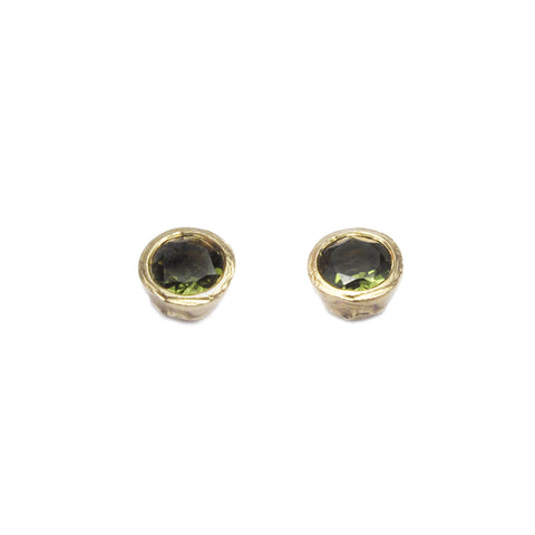 9ct Yellow Gold Etched Ear Studs with Green Tourmalines
