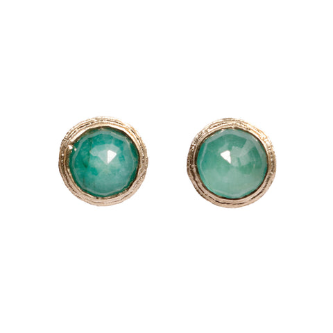 9ct Yellow Gold Ear Studs with Rose Cut Emeralds